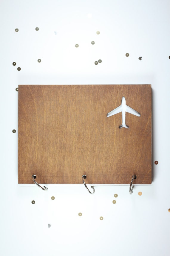 "6"" X 8""  wood airplane travel journal/ mini album"