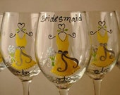 Yellow and Gray Custom Hand Painted Bridal Party Wedding Wine Glasses Wine Glass Bride Bridesmaid Wedding Favors Gifts (15.00 each glass )