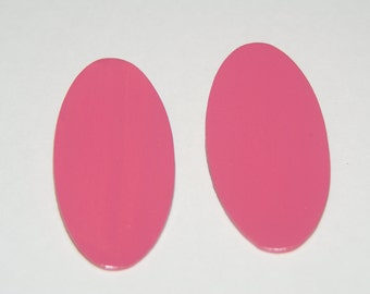 Hand Painted Oval Stud Earrings - Pink