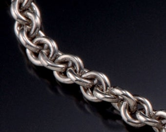 Sterling silver cable chain 4.3 MM. A strong chunky reliable chain, oxidized.