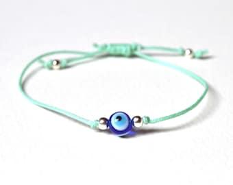 Mint Evil Eye Bracelet, Nazar Charm Bracelet, String Bracelet, Friendship Bracelet, UK Seller