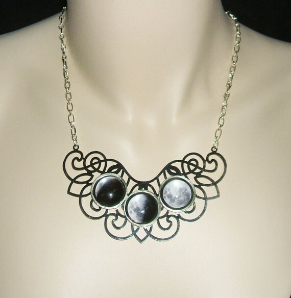 MOON PHASES Necklace Moon Goddess Statement Altered Art Jewelry Celestial Original Design On SALE Now