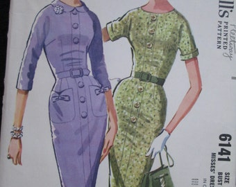 1961 McCALL'S Slim Dress PATTERN With Four-Piece Bodice/Four-Gore Skirt