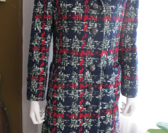 1960's BULLOCK'S WILSHIRE Ladies Red-Gray-Blue Wool Crochet-Look Coat