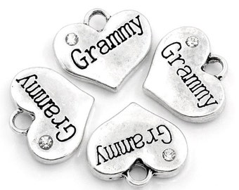 5 Grammy Charms - Silver - Heart with Rhinestone - 16x14mm - Ships IMMEDIATELY from California - SC818