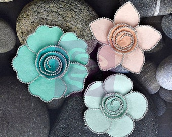 """SALE Prima Queen Mary """"Vintage"""" Flowers - Metal Embellished Mulberry Paper Flowers - 3 pcs - Ships IMMEDIATELY from California - 566203"""