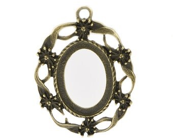 10 Cabochon Frames -  Antique Bronze - Holds 13x25mm Cabochons  - 33x45mm - Ships IMMEDIATELY from California - BC733a