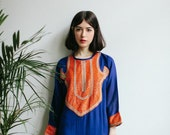 70s Blue Boho Embroidered Kaftan