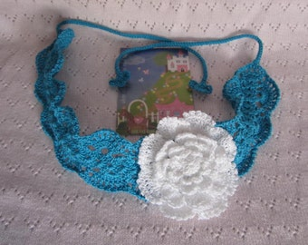 Girls Headband with flower,Crochet Girls Headband, Girls Lace Headband, Crochet Flower Headband, Turquoise Baby Girl Headbands