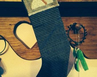 Primitive Stocking - w/Cross Stitched Snowman