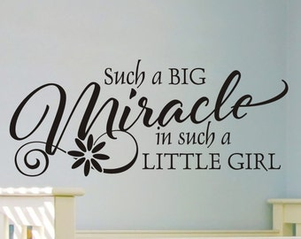 Girls Room Wall Decal Such a Big Miracle In Such a Little Girl Baby Girl Nursery Bedroom Bed Room Wall Sticker Vinyl Lettering Removable