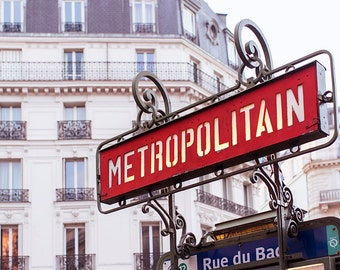 Paris Metro Photography - Red Metropolitan Sign, Architectural Travel Print, French Decor Photograph, Large Wall Art