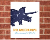 Personalized Dinosaur Art Print - 8x10 - Triceratops