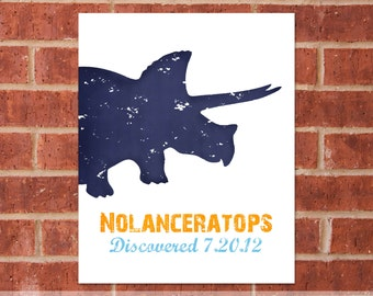 Personalized Dinosaur Canvas - 8x10 - Triceratops - Dinosaur Name - Dinosaur Gift
