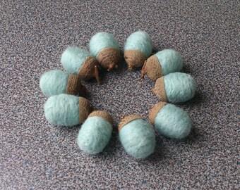 Needle felted acorns set of 10 in dusty light blue