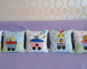 Custom The Circus train crib bumper/6 interchangeable 12in pillows/ nursery bedding/colorful--Made to order