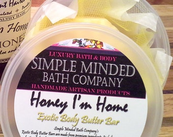 Honey I'm Home - Exotic Body Butter Bars -  FAIR TRADE INGREDIENTS - Solid Lotion / Body Butter -  by Simple Minded Bath Company