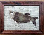 A Fish - Brown color - stitched original art