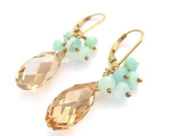 Swarovski Crystal Earrings Crystal Earring Peruvian Opal Cluster Earring Gold Filled Lever Back Opal Jewelry Gift Crystal Jewelry Summer