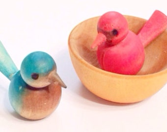Waldorf Montessori Wooden Bird and Nest Toy