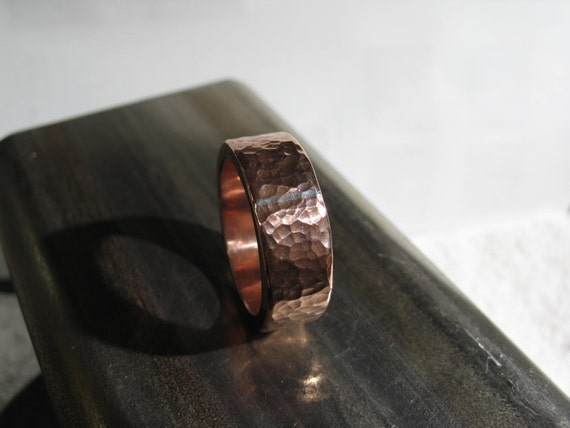 hammered copper ring with silver solder