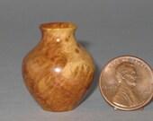 White Mallee Burl Turned Wood Miniature Vase