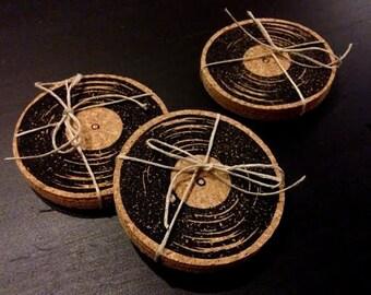 Vinyl Record - Cork Coasters - Hand Printed