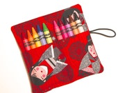 Crayon Roll Party Favors, Red Kimono Dolls, Crayon Rollup, holds up to 10 Crayons, Party Favors