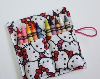Crayon Roll made from Hello Kitty fabric, holds up to 10 Crayons, Birthday Party Favors
