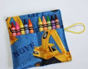 Yellow Trucks Crayon Rolls, Construction Trucks birthday party favors, Crayon Rollup, Birthday Party Favors, crayon holders wraps sleeves