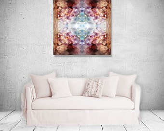 Decissions Aubergine Brown Teal White Mandala Spiritual Print Ready to Hang Wall Decor -MD0033P