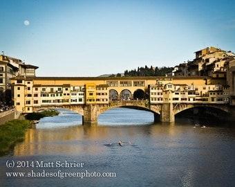 "Florence Italy Art Print - ""Ponte Vecchio Moonrise"" - Fine Art Photo Photograph of Europe"