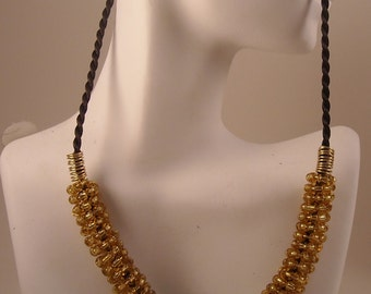 Gold and Silver Beaded Wire Coiled Necklace Seed Bead Wire Wrapped Necklace
