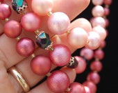 Vintage mid-century HANDMADE bead NECKLACE 3 strand ATOMIC pink