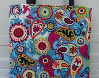 Reversible Tote Bag: Colorful Paisley