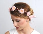 Pink Flower Crown, Wedding Hair Piece, Floral Wedding Headpiece, Bridal Circlet, Head Wreath, Bohemian Headband, Berry Pip Halo, Australia