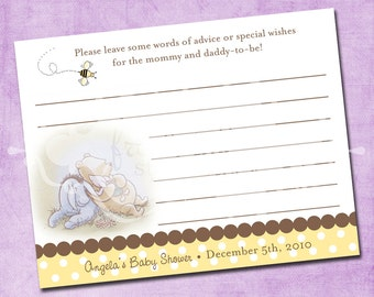 Classic Pooh Baby Shower Advice Card