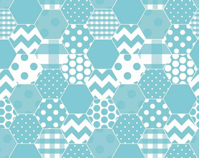Fabric / Hipsters / Hexi Design / Aqua Print / Apparel Fabric / Quilting Fabric / from Riley Blake  C770-20