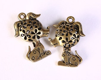 3D Hollow Dog charm pendant antique brass antique bronze color - nickel free lead free - 32mm x 22mm - 2 pieces (1418) - Flat rate shipping