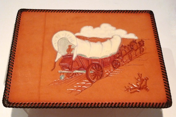 Western Tooled Leather Panel Art Work Vintage Wagon Wall Hanging Chuck Wagon Picture Prison Art Folk Art Southwest Cowboy Wild West 1960's
