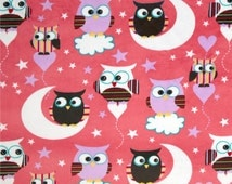 SALE, Owls, Minky Night Owls, Minky Owl, Owl Fabric, Minky Fabric, 1 Yard Fabric, 02030