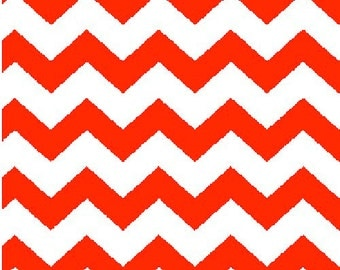 Chevron Fabric, Orange and White Fabric, Orange Fabric, Chevron Fabric, Orange Fabric, 1 yard fabric