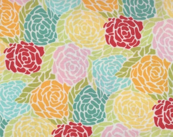 Red Roses, Yellow Roses, Teal Roses, Chantilly by Moda,  Rose Fabric, Floral Fabric, 05102