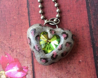 Animal Print Heart Pendant Necklace - Pink and Gray with Embedded Glass Heart