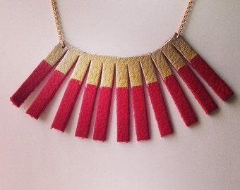 Leather Sunbeam Necklace