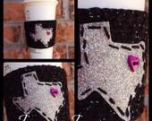 Black & Silver Glitter Texas Coffee Cup Sleeve
