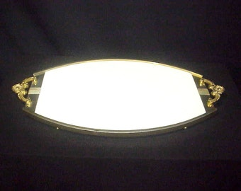 Superb Brass & White Milk Glass footed Plateau/Vanity/Serving Tray