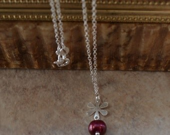 Sterling Silver Minimalist Cranberry Burgundy Pearl Chain Necklace