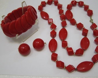 Vintage Red Lucite Jewelry Lot Earrings Bracelet  Necklace