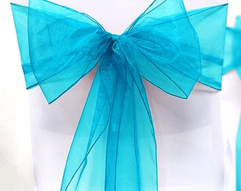 Chair Sashes Blue   200   Wedding Chair Sashes Chair Bows Turquoise  Organza Pew Bows Party Bows Event